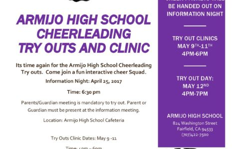 Cheer Try-Out Clinic May 10-11; Cheer Try-Outs May 12 – Are you Ready?
