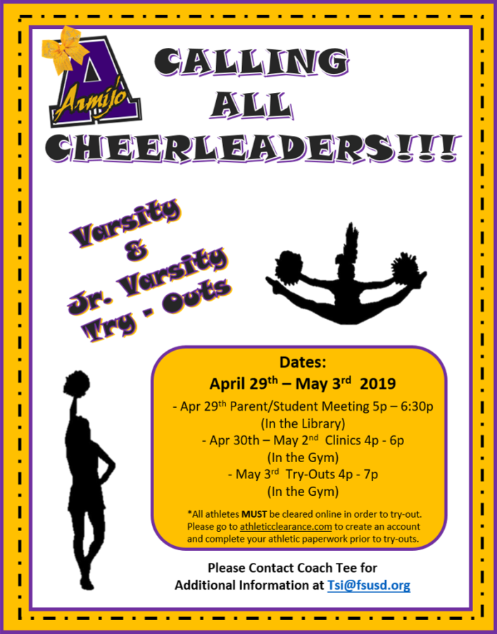Cheerleader Information Meetings and Try-Outs Begin April 29