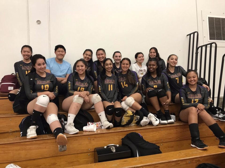 The+volleyball+team+takes+a+well-deserved+rest.