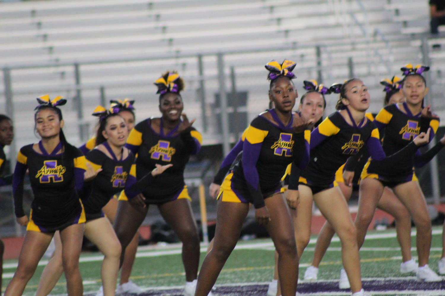 Cheerleaders give it their all at every game to keep the fans hyped.