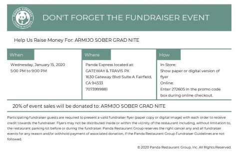 January 15 - Eat at Panda, promote Sober Grad Nite