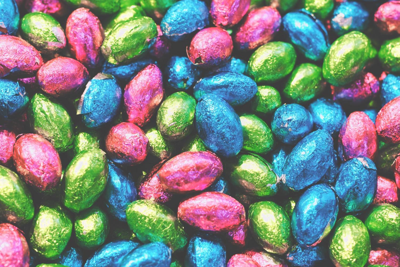 The colorful chocolate eggs are customary in celebrating Springtime faith.