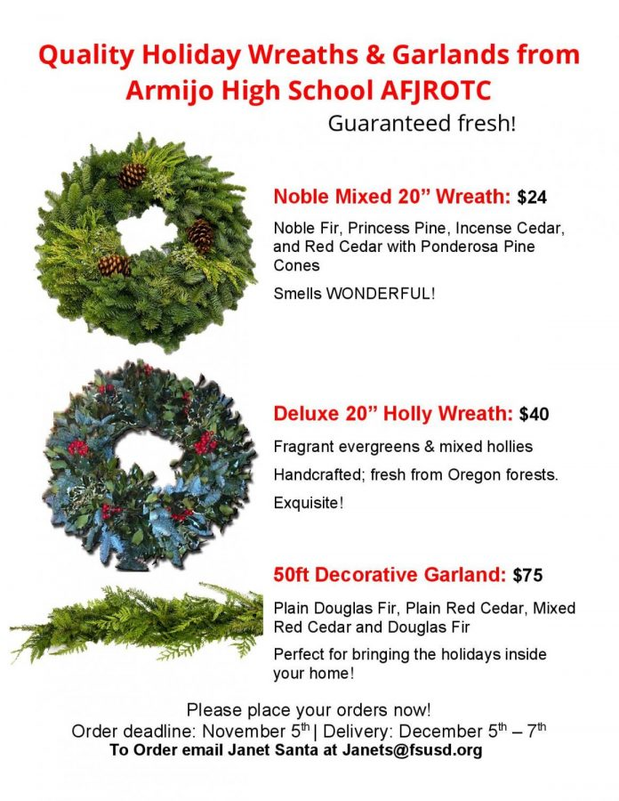 AFJROTC Holiday Wreaths for sale