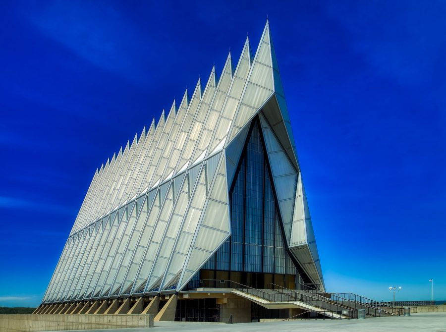 Even the chapel at the Air Force Academy points skyward.