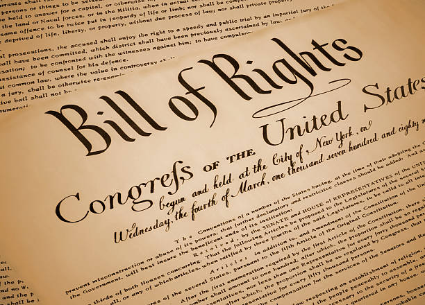 Replica of the United States Bill of Rights, documenting the 10 amendments to the US Constitution.