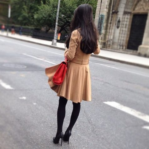 The brown in this outfit makes it pop!