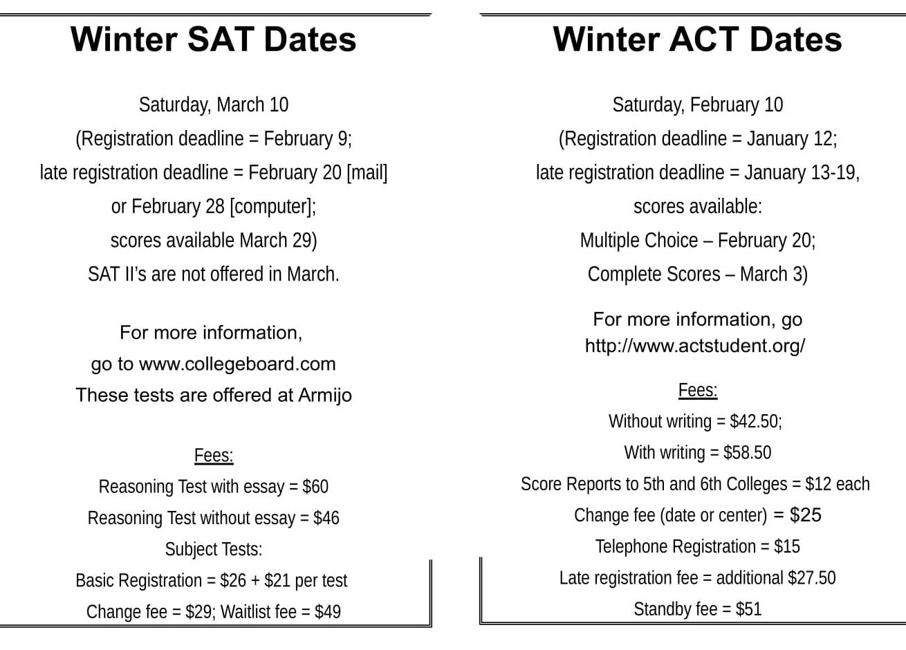 SAT and ACT test dates and deadlines – The Armijo Signal